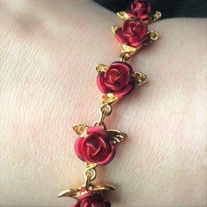 "Gold Plated ""A Dozen Roses"" Bracelet Danbury Mint"